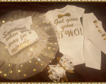 Twins, Twin Boys, Twin Girls, Girl Boy Twins, Baby Shower, Coming Home, Going Home Outfits, Can Be Done In Any Combination