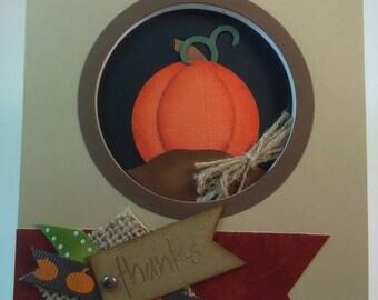 Thanks Card, Handmade Card, Handmade Thanks Card, Thanksgiving Card, Handmade Thanksgiving Card