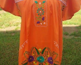 Mexican Dress / Mexican Tunic / Boho Dress / Embroidered Dress / Orange Dress