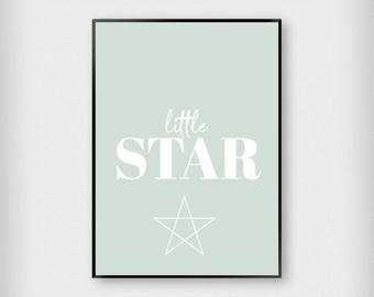 Little Star Print | Kids | Green - White - Black - Peach | Children - Nursery - Poster