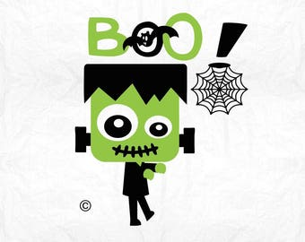 frankenstein boo monster SVG Clipart Cut Files Silhouette Cameo Svg for Cricut and Vinyl File cutting Digital cuts file DXF Png Pdf Eps