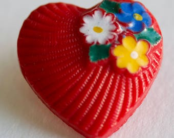 Small Red Glass Heart with Flowers