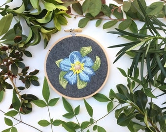 Blue Flower, Hand Embroidery Hoop Art, Stitched Art, Home Decor, Embroidery hoop, Fibre Art, Wall Hanging, Needlework, Sewing, Multicolor