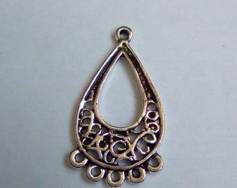 Silver Teardrop filigree 25x14mm 10 connectors