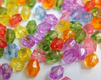 100 mini faceted beads 3mm acrylic