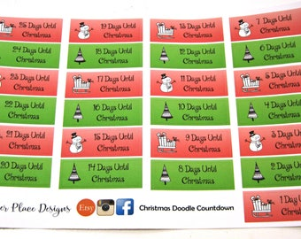 Planner Stickers - Happy Planner Stickers - Day Designer - Functional Stickers - Christmas Countdown - Advent - Doodle Stickers