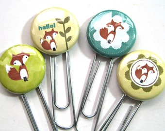 Planner Paper Clip - Altered Paper Clip - Flair Planner Clip - Bookmark - Planner Accessory - Planner Clip Set - Fox Clips