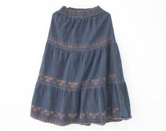 SALE Vintage Winter Midi Skirt Blue Embroidered Ruffle Skirt Elastic Waist Skirt Medium Size DenimLong Skirt Maxi Skirt Warm Boho Bohemian S