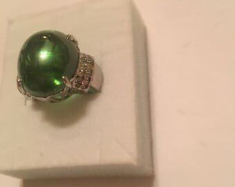 32.27ct Zambian Emerald Ring Size 6.5