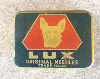 Antique Phonograph Gramophone LUX Original Needles with Tin Box