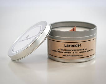 Lavender Organic Scented Candle - Soy Wax + Essential Oil + Wood Wick - 8oz