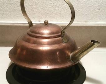 Vintage Copper Kettle Tea Pot Collectible Brass Copper Home Decor Kitchen Decor