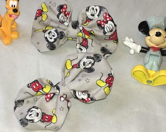 Mickey and Minnie Fabric Puffy Bows