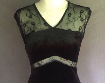 Vntage 1990s Black Velour Maxi Dress