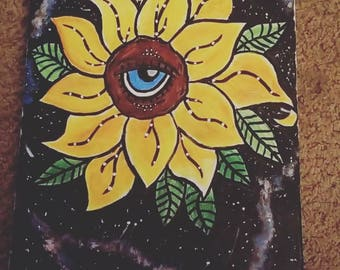 Handpainted Galaxy sunflower- wall decor- flower painting