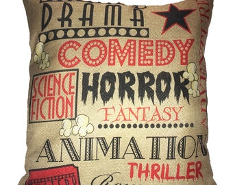 Movie Drama , Comedy , Horror Throw Pillow 17 x 17  100% Cotton Movie Theater Theme Room Pillow Man Cave Pillow