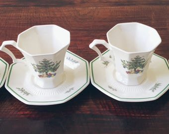 Nikko Christmastime Cups and Saucers (Set of 4)