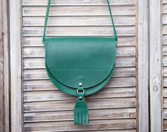 Green Crossbody Bag by Okra, Vintage Satchel, Sling bag, Classic Bag, Gift for her, Leather messenger bag