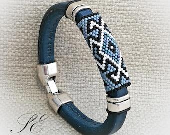 Denim bracelet-Regaliz leather bracelet-Peyote bracelet-beaded bracelet and leather-Peyote leather Bracelet