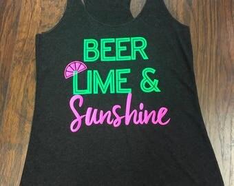 Neon Lights Beer, Lime, and Sunshine Tank