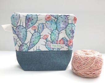 Project Bag/Sock Project Bag/Small Project bag/Knitting Project Bag/Crochet Project Bag/Zipper Project Bag-Watercolor Cacti