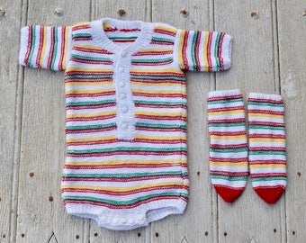 70's 80's / baby / bodie short sleeves and matching socks / handmade knit / white striped red green yellow