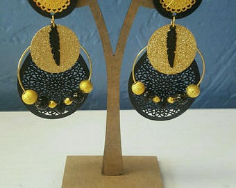 black and gold dangling earrings
