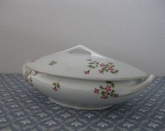 Stylish Vintage European Covered Soup Bowl Tureen Serving Dish from HJG Bavaria Germany