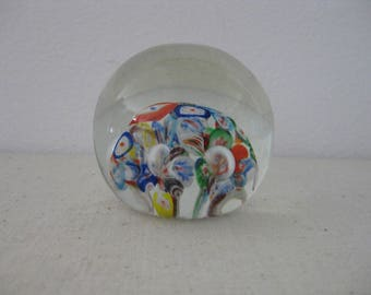 Larger Double Sphere Glass Art Mulit-coloured Floral Paperweight Hand Blown
