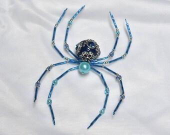 Beautiful Blue Beaded Spider