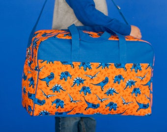 Monogrammed Travel Weekend Bag, Overnight Bag, Dino Overnight Bag, Boys Travel Bag, Dinosaurs, Dino-Mite Blue and Orange Weekender, Luggage