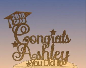 Personalized Graduation Cake Topper, Cake Topper, Grad, Topper, Celebration, Party, Party Favor, Cake, 2018