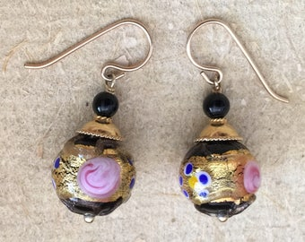 Black and Gold Murano Glass earrings with Fiorato design