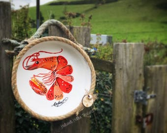 Hand Painted Upcycled Prawn Wall Hanging