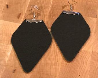 leather earrings/leather shield earrings/earrings/leather drop earrings/Joanna Gains inspired