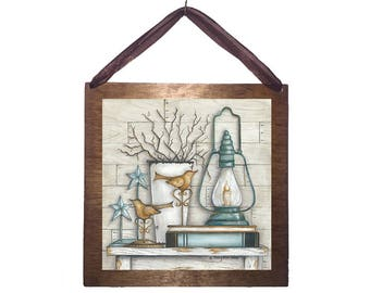 8x8 Lantern on Books with Stars and Vase Home Decor Sign with Choice of Black Wire or Brown Ribbon for Easy Hanging