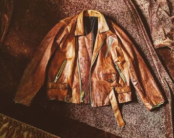 Vintage rusty leather biker jacket
