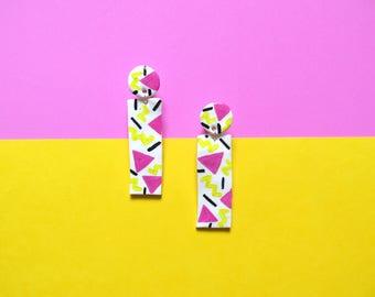 Dangle earrings, abstract earrings, statement earrings, colourful, neon, hand painted, polymer earrings, geometric earrings