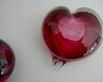 Pink Glass Heart Paperweight or Ornament.