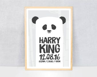 custom name panda poster / personalised birth print / birth prints / birth announcement art / nursery prints / personalised wall art