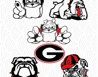 GA Bulldogs Designs; University of Ga; SVG, DXF, Ai, Eps, Pdf, Jpeg, Png