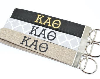 Officially Licensed Kappa Alpha Theta Sorority Keychain Key Chain Fob Wristlet Greek Life Personalized Embroidered
