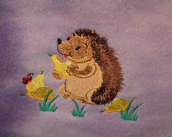 Super Cute Hedgehog or Guinea Pig Carry Bag.  Embroidered. Purple/Hedgehog with Pears   Ready to Ship