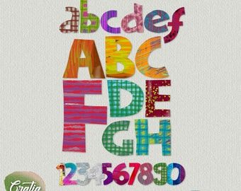 ABC Oil Painting Colorful Font Clipart for Scrapbooks, invitation design, cards, decoration, printable ABC & numbers, art projects