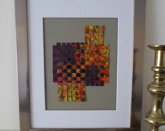 Abstract Art Weaving in Purple Yellow and Red Housewarming Gift Idea Ready to Ship