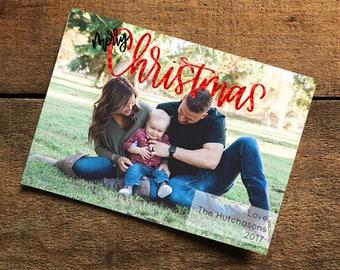 Christmas Photo Card, Family Christmas Card, Merry Christmas Sparkle Card, Photo Christmas Card, Digital Download Christmas Card