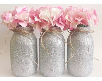 Silver Mason Jars, Silver Centerpieces, Silver Glitter