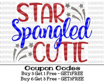 Star Spangled Cutie Svg 4th of July Svg PNG All American Girl Patriotic Svg Files for Cricut Svg Files For Silhouette Svg Designs July 4th