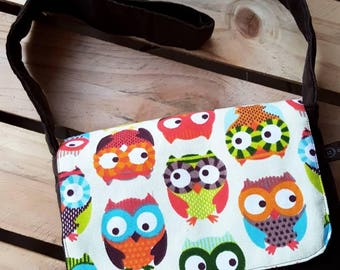 Kids Messenger Bag, cute owl design, handmade, retro, funky carry-all