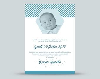 Faire part naissance graphique garçon / Faire part naissance géométrique / faire part naissance imprimés géométriques / annonce naissance